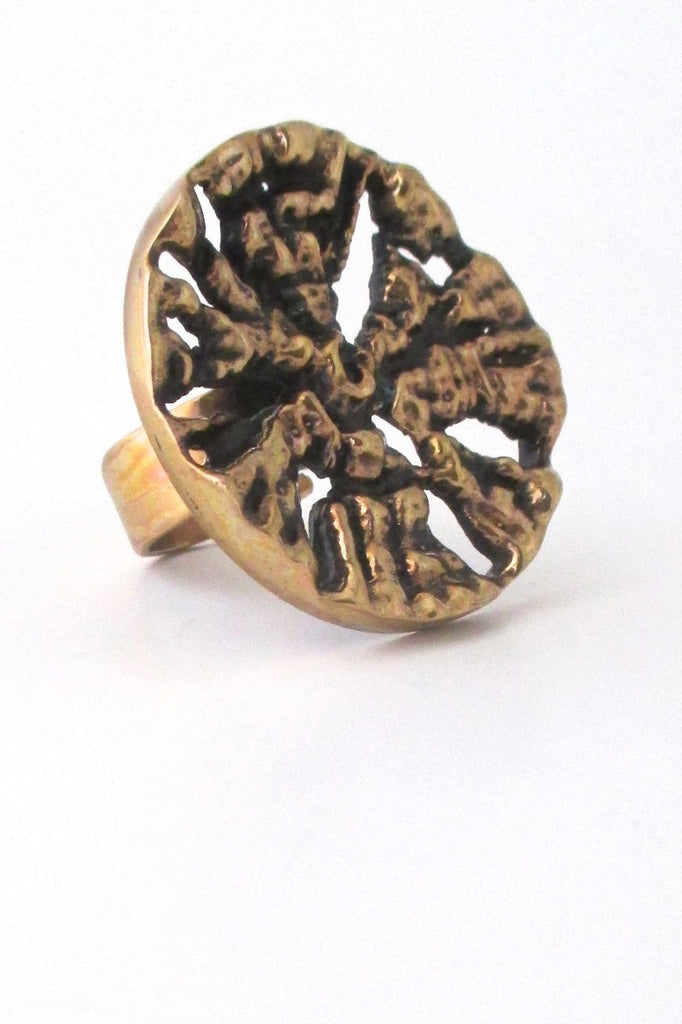 Pentti Sarpaneva Finland extra large bronze ring at Samantha Howard Vintage