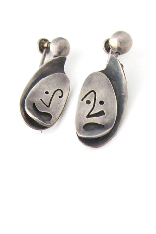 American Modernist Phyllis Jacobs silver earrings