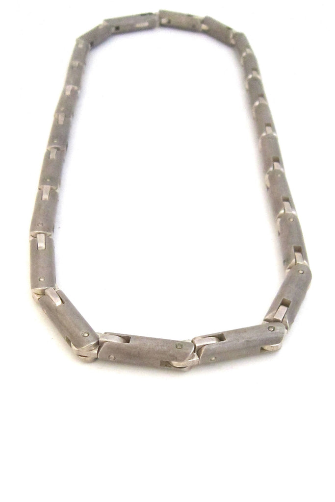 Tomasz Plodowski Poland sterling silver heavy articulated modernist necklace
