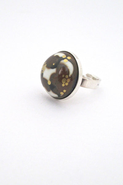 Porsgrund Norway vintage silver and porcelain ring by Anne Marie Odegaard