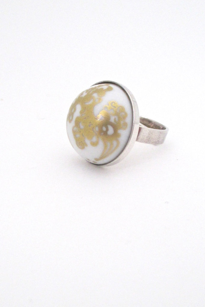 Porsgrund Norway vintage silver and porcelain mid century Scandinavian Modern ring