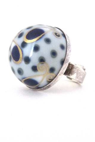 Porsgrund Norway vintage silver porcelain large ring by Anne Marie Odegaard Nordic jewellery
