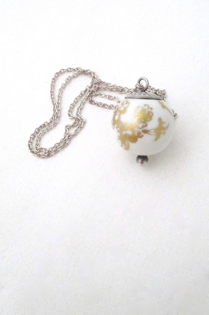 Porsgrund Norway vintage modernist porcelain pendant necklace by Anne Marie Odegaard