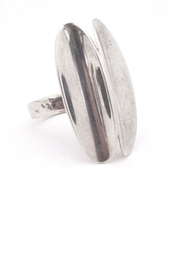 Poul Warmind Denmark vintage Scandinavian Modern mid century silver large scale ring