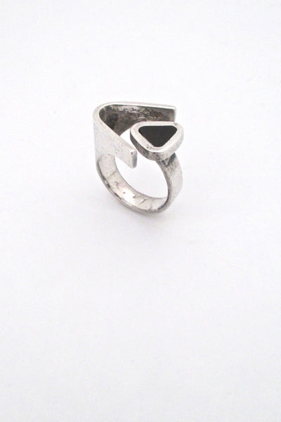 Puig Doria Spain vintage Modernist silver ebony open ring mid century