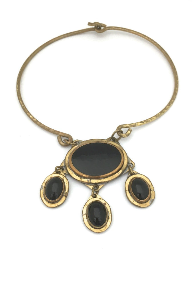 Rafael Alfandary Canada vintage large multi black stone brutalist brass statement necklace