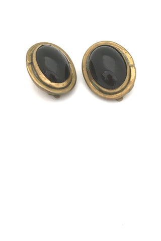 Rafael Alfandary Canada vintage brutalist large brass black glass oval earrings