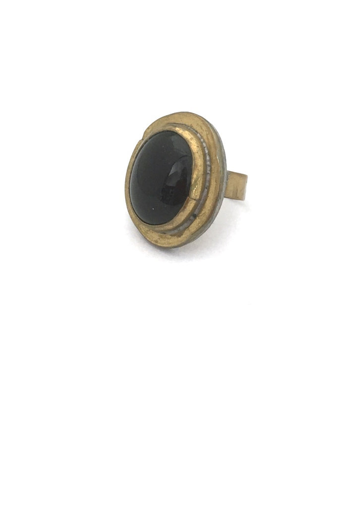 Rafael Alfandary Canada vintage brutalist brass black glass oval ring