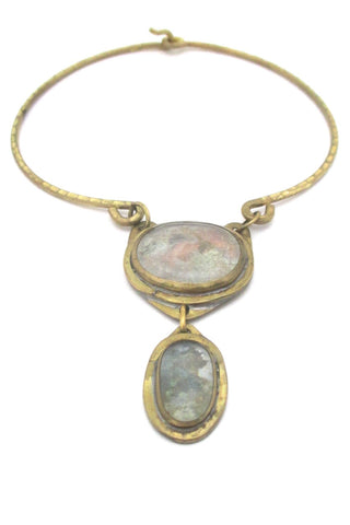 Rafael Alfandary Canada vintage brutalist double clear stone choker necklace