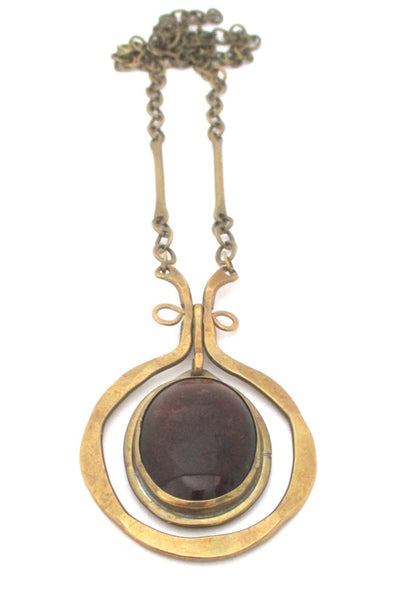 Rafael Alfandary Canada large vintage brutalist brass and glass dark amber kinetic necklace