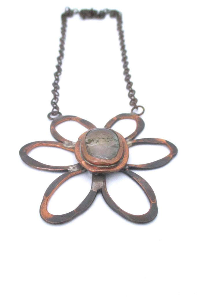 detail Rafael Alfandary Canada vintage brutalist copper and clear large daisy pendant necklace
