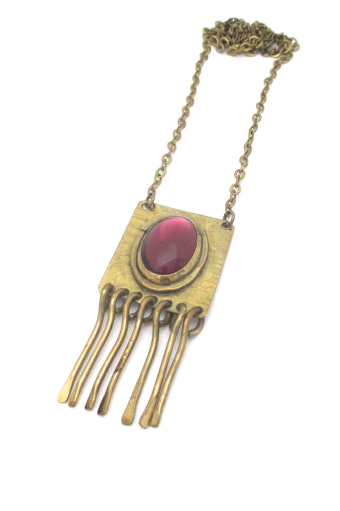 Rafael Alfandary Canada vintage brutalist mirrored clear purple stone fringe necklace