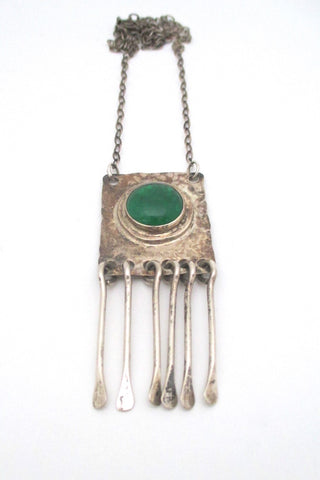 Rafael Alfandary Canada vintage brutalist sterling silver mirrored clear green stone fringe necklace