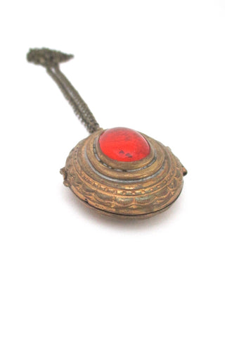 Rafael Alfandary Canada vintage brutalist brass tangerine orange glass locket pendant necklace