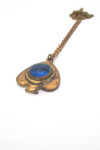 Rafael Alfandary Canada vintage brutalist brass water blue glass fish pendant necklace