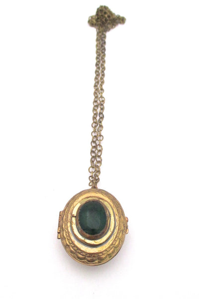 Rafael Alfandary Canada vintage brass 2 sided green black locket necklace
