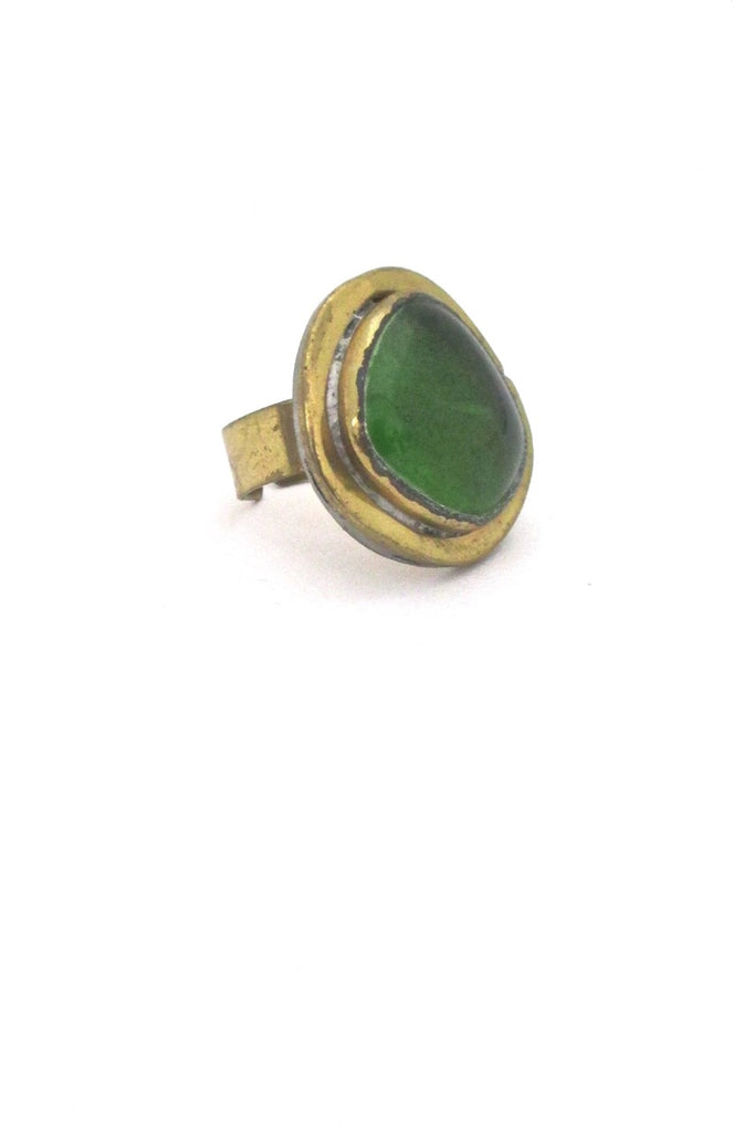 Rafael Alfandary Canada vintage brass clear grass green glass ring