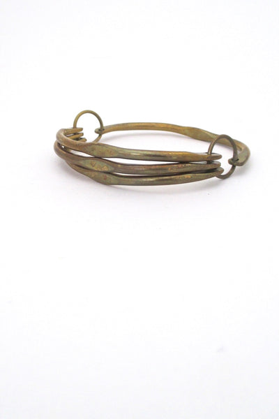 Rafael Alfandary Canada vintage brass unusual hinged bangle bracelet