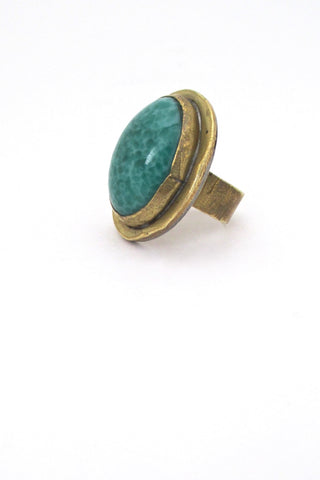 Rafael Canada brass & speckled green cabochon large ring
