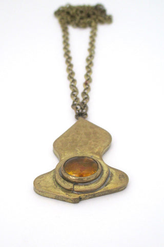 Rafael Alfandary Canada vintage brass and clear light orange pendant necklace