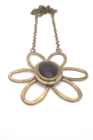 Rafael Alfandary Canada vintage brutalist brass purple glass daisy pendant necklace