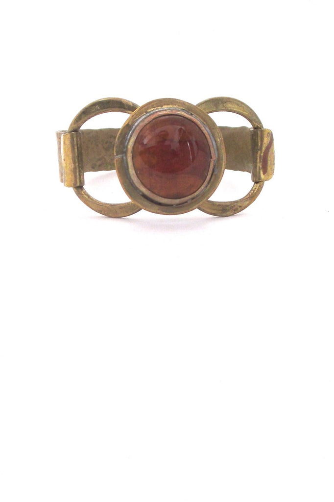Rafael Alfandary Canada hammered brass round amber glass stone hinged bracelet vintage Canadian jewelry