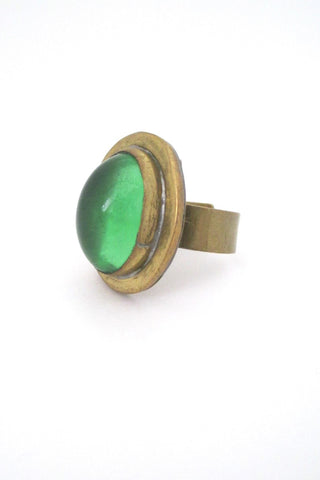 profile Rafael Alfandary Canada vintage brutalist brass clear green glass ring