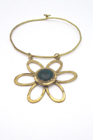 Rafael Alfandary Canada vintage brutalist daisy choker necklace teal stone original tag NOS