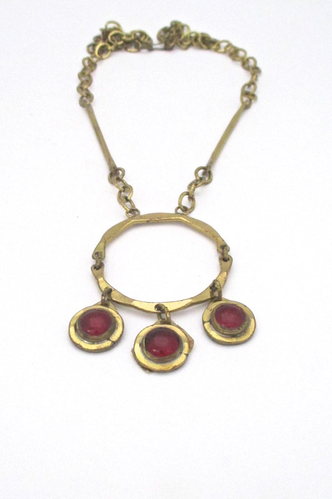 Rafael Alfandary Canada vintage brutalist brass red glass triple stone kinetic pendant necklace