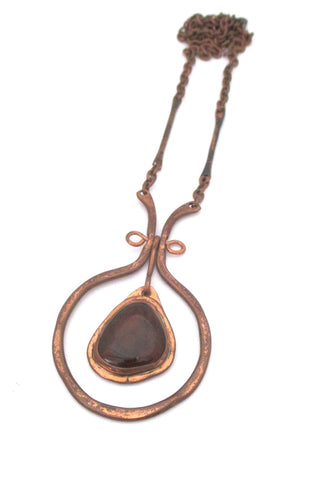 Rafael Alfandary Canada large vintage copper clear cola glass stone classic kinetic pendant necklace