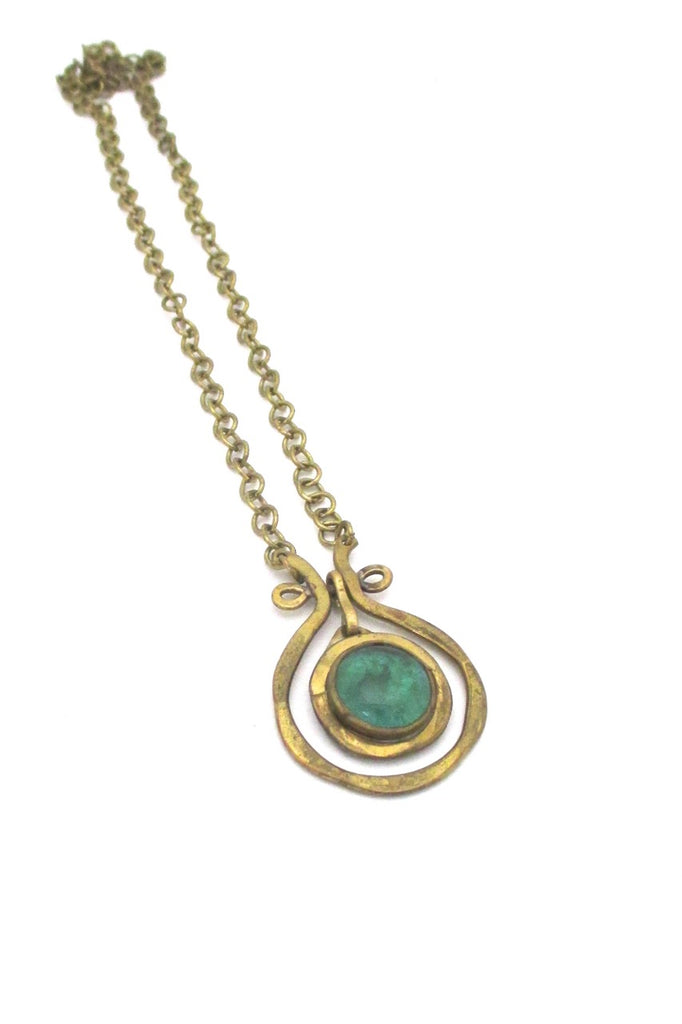 Rafael Alfandary Canada  mini brass classic kinetic pendant clear green stone vintage jewelry