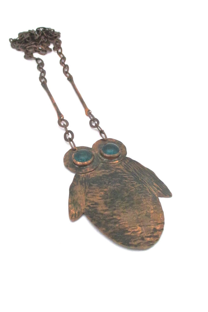 Rafael Alfandary Canada large copper owl pendant necklace green glass eyes vintage Canadian jewelry