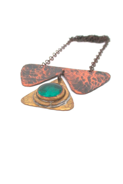 Rafael Alfandary Canada vintage copper brass kinetic pendant necklace green