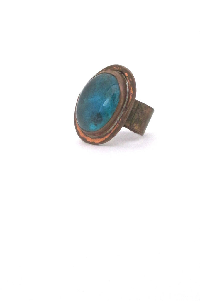 Rafael Alfandary Canada vintage brutalist copper aqua glass ring early