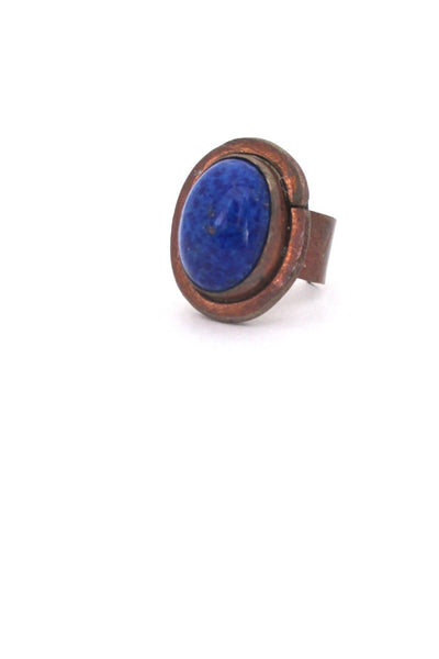 Rafael Alfandary Canada vintage brutalist copper mottled blue glass ring
