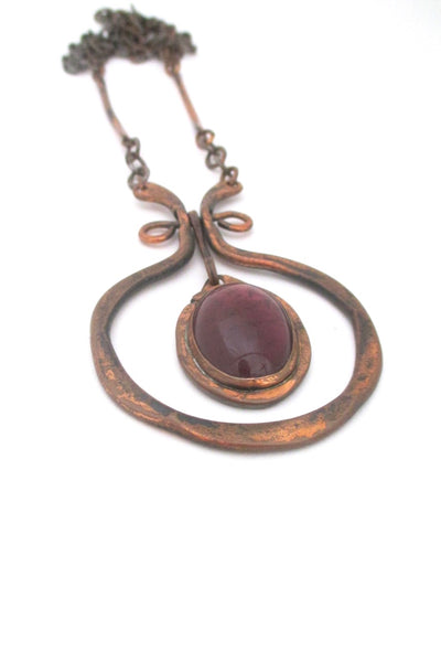 Rafael Alfandary Canada vintage brutalist copper purple glass large kinetic pendant necklace