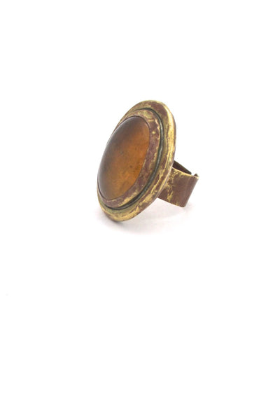 Rafael Alfandary Canada brass large oval amber glass stone ring vintage Canadian Modernist jewelry