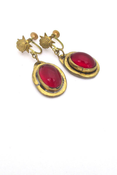 detail Rafael Alfandary Canada vintage mid century brass drop earrings in red