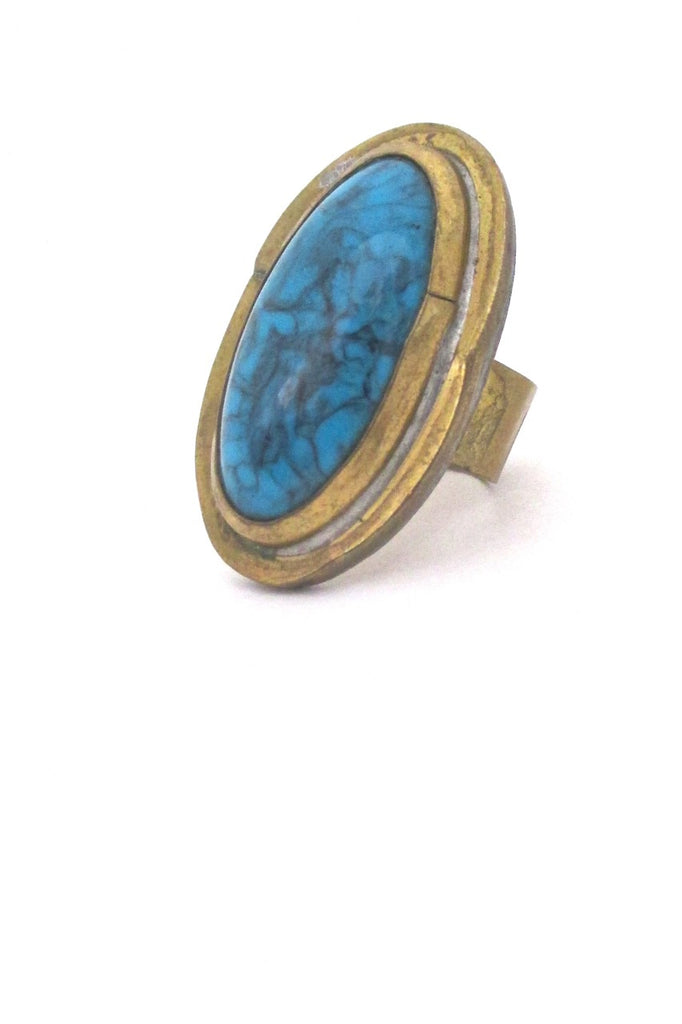 detail Rafael Alfandary Canada vintage large brutalist brass faux turquoise glass ring