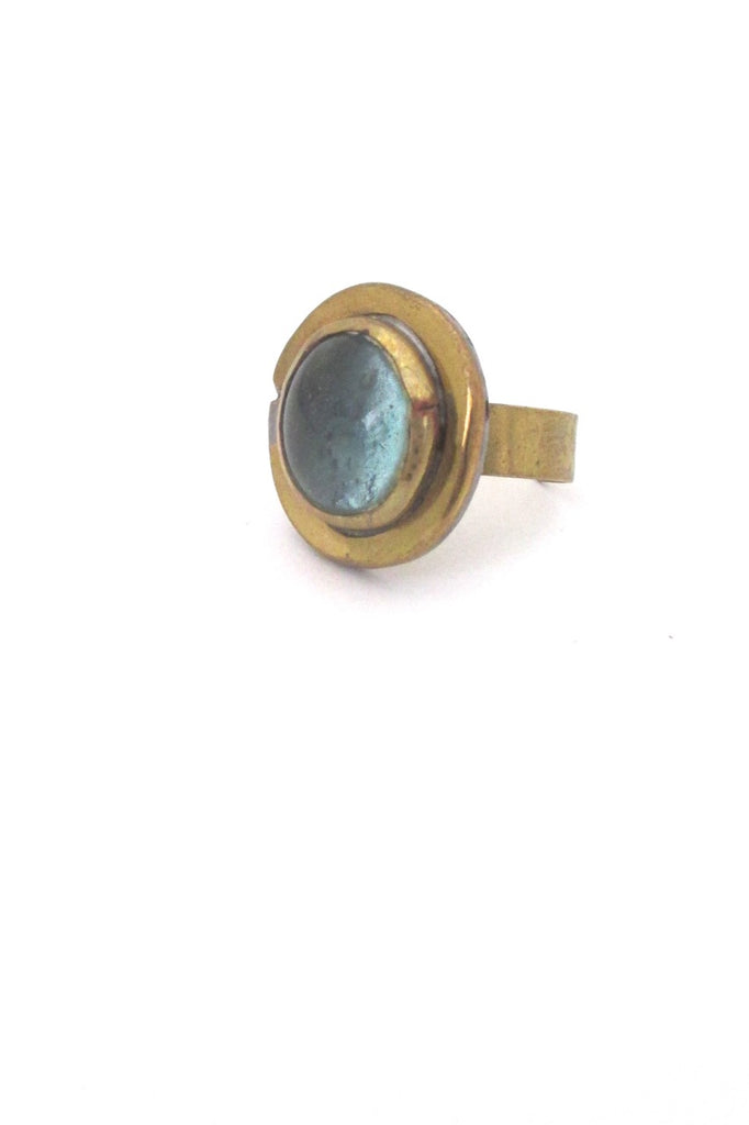 Rafael Alfandary Canada vintage brutalist brass clear pale blue round ring