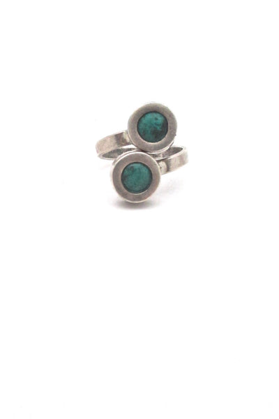 Rafael Alfandary Canada vintage sterling silver turquoise bypass ring mid century Modernist design jewelry
