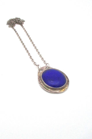 Rafael Alfandary Canada vintage brutalist sterling silver and cobalt blue glass pendant necklace