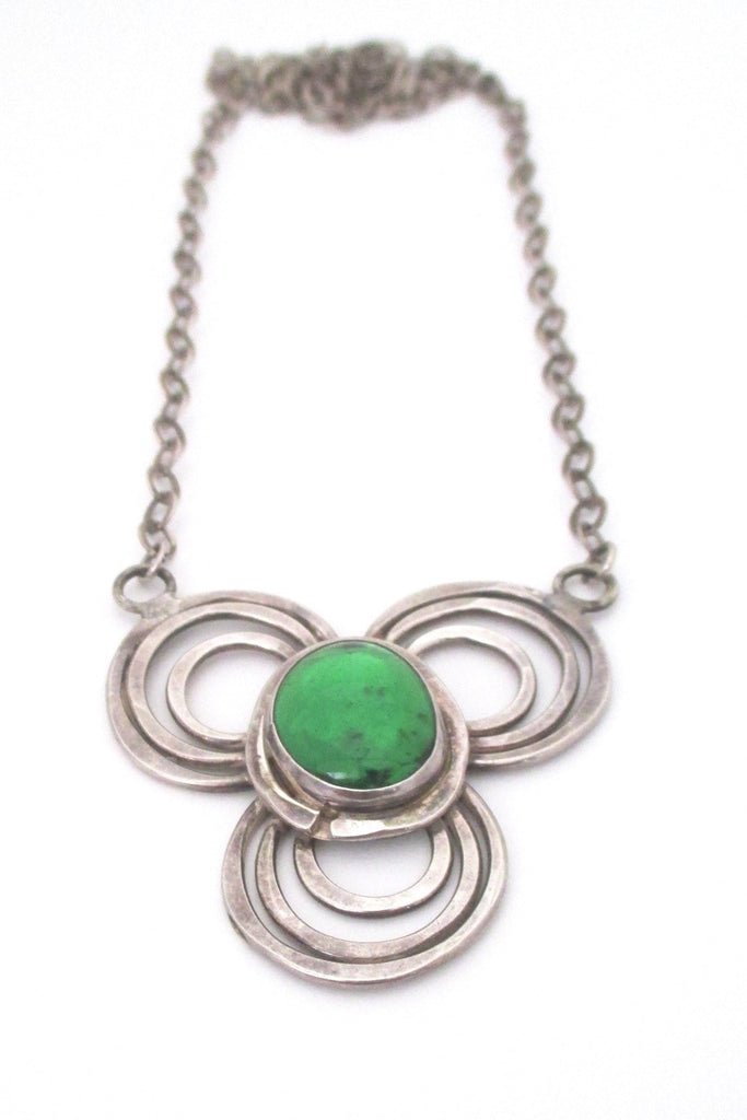 Rafael Alfandary Canada vintage rare sterling silver green glass pendant necklace