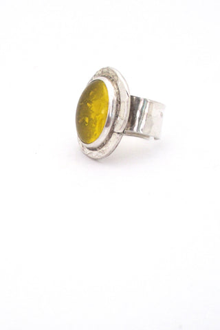 detail Rafael Alfandary Canada vintage sterling silver and lemon yellow ring