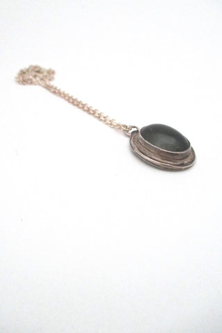 Rafael Alfandary Canada vintage brutalist silver and mood stone glass pendant necklace