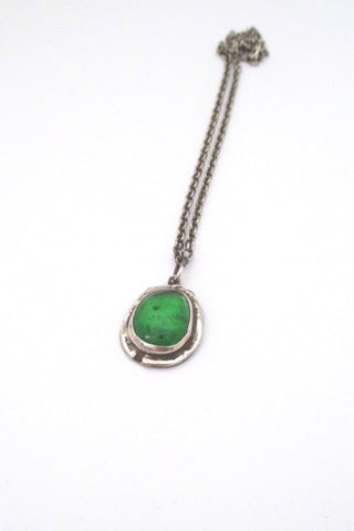 Rafael Alfandary Canada vintage sterling silver clear green glass stone pendant necklace