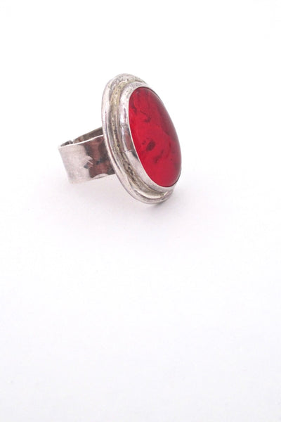 profile Rafael Alfandary Canada vintage brutalist sterling silver large red glass stone ring