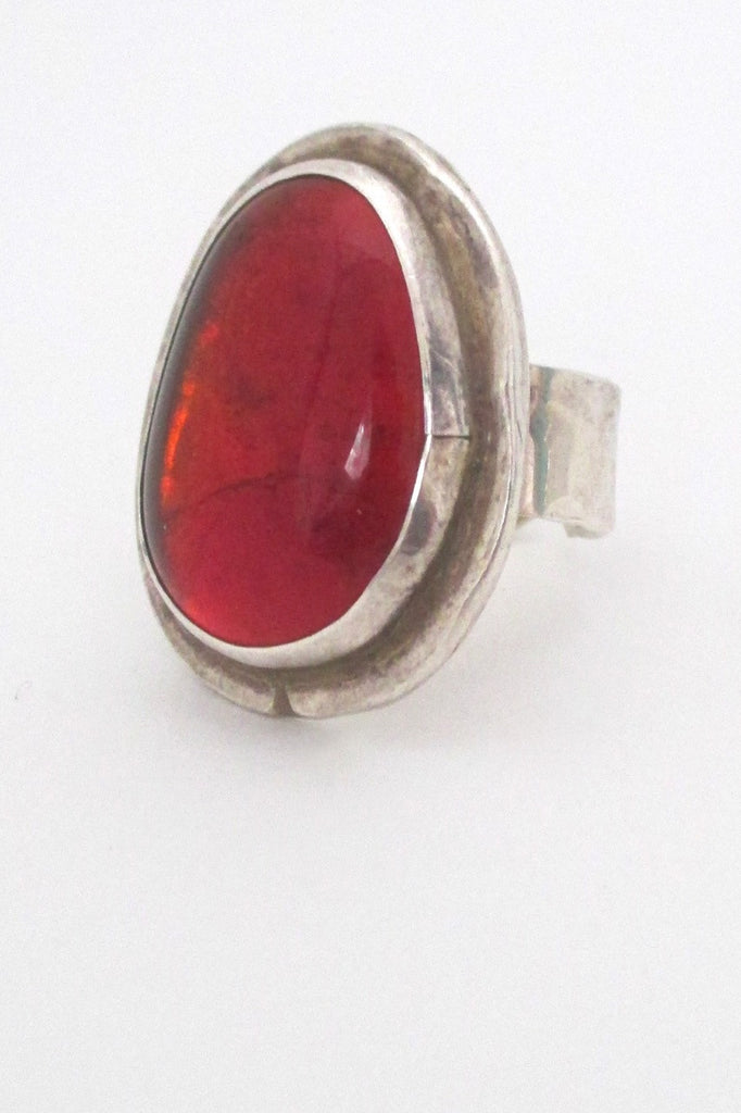 Rafael Alfandary Canada large vintage brutalist sterling silver and clear red ring