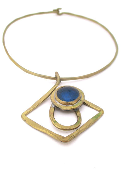 Rafael Alfandary Canada vintage brutalist brass and water blue glass choker necklace