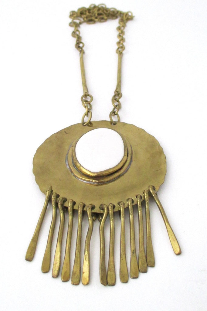 Rafael Alfandary Canada vintage brass large fringe necklace with white glass stone